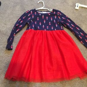 Red/navy Gymboree girls tulle dress 4T